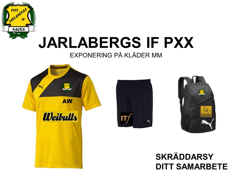 JARLABERGS IF PXX EXPONERING PÅ HEMSIDA SKRÄDDARSY DITT SAMARBETE DELTAGANDE PÅ HEMSIDAN Logotype på hemsidan med aktiv länkning Möjlighet till kampanjutskick till medlemmar