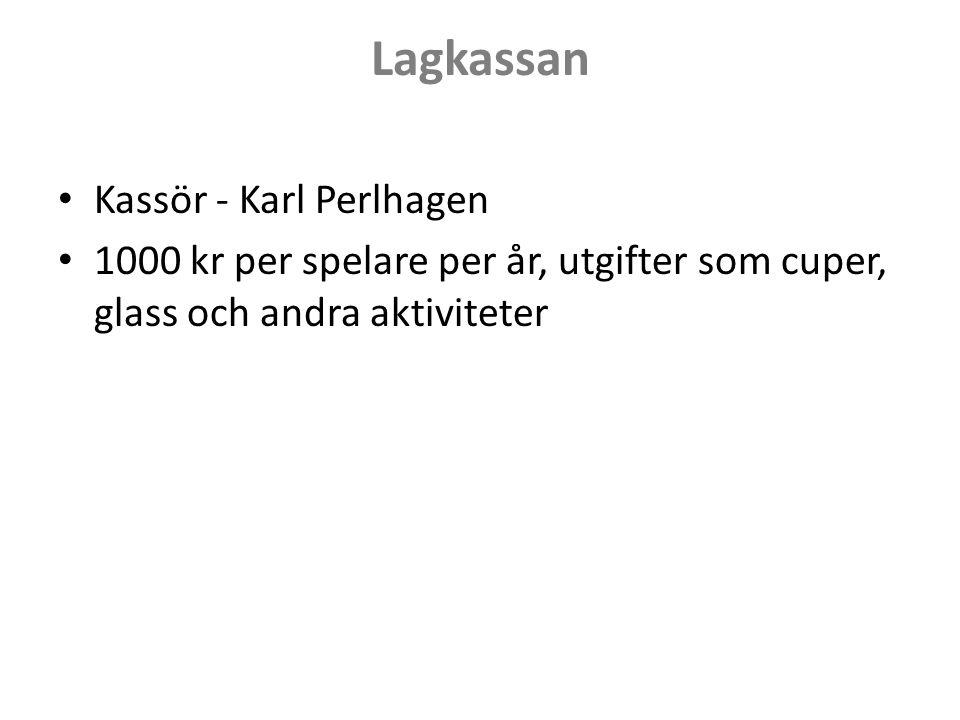 Lagkassan Kassör - Karl Perlhagen 1000 kr per spelare per år, utgifter som cuper, glass och andra aktiviteter