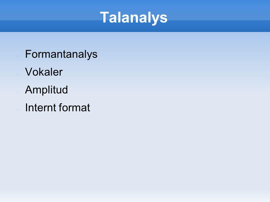 Talanalys Formantanalys Vokaler Amplitud Internt format