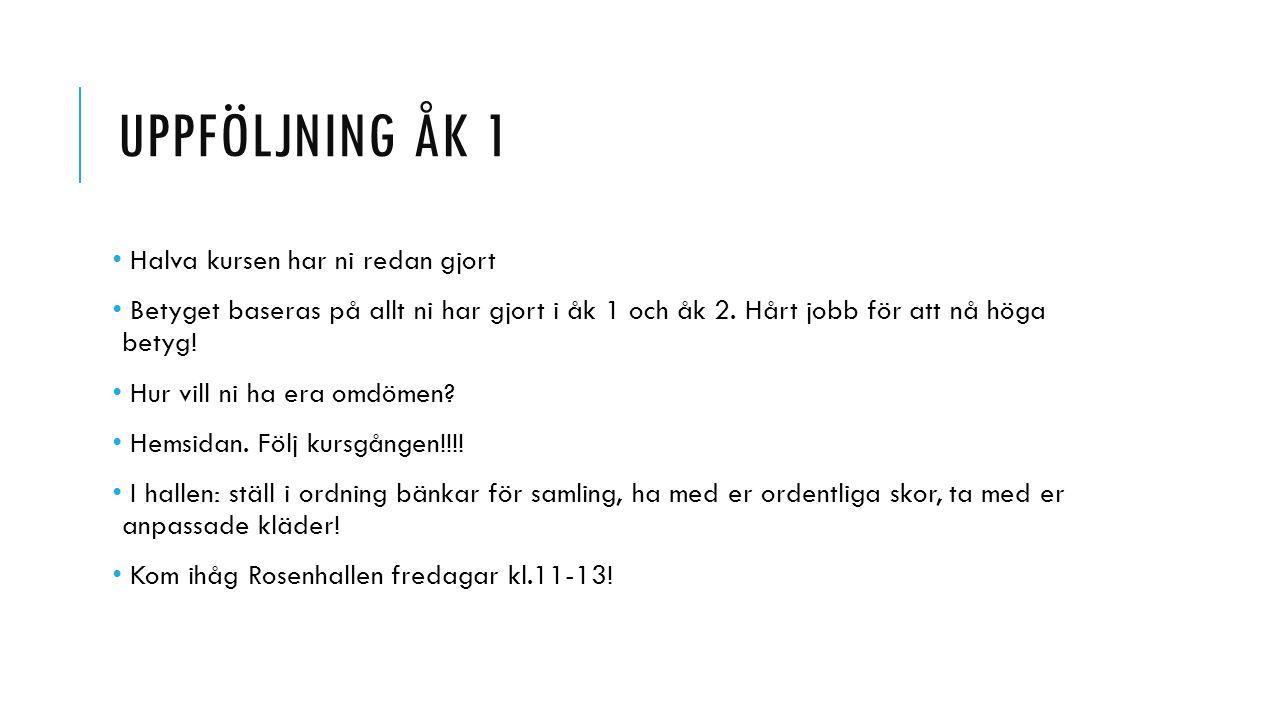 INNEHÅLL ÅK 2 Vinterutbildning Kost Mental träning Orientering Skador Hälsoprojekt …med mera!