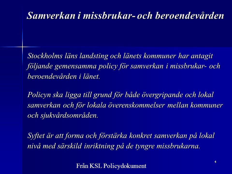 4 Samverkan i missbrukar- och beroendevården Stockholms läns landsting och länets kommuner har antagit följande gemensamma policy för samverkan i missbrukar- och beroendevården i länet.