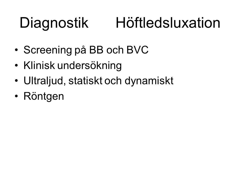 DiagnostikHöftledsluxation Screening på BB och BVC Klinisk undersökning Ultraljud, statiskt och dynamiskt Röntgen