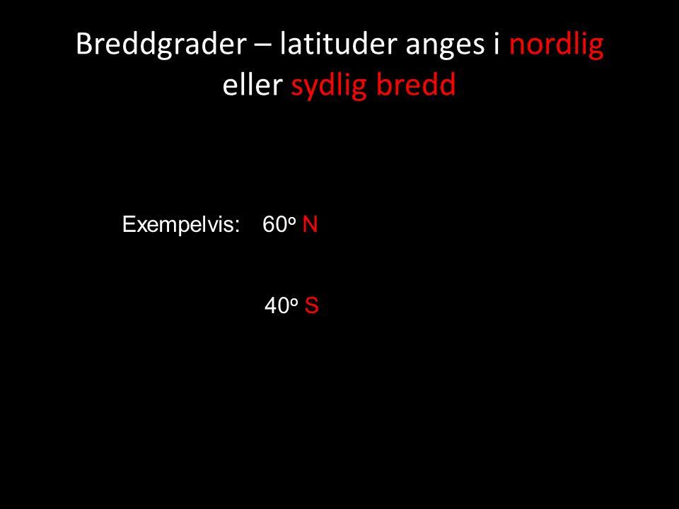 Breddgrader – latituder anges i nordlig eller sydlig bredd Exempelvis: 60 o N 40 o S