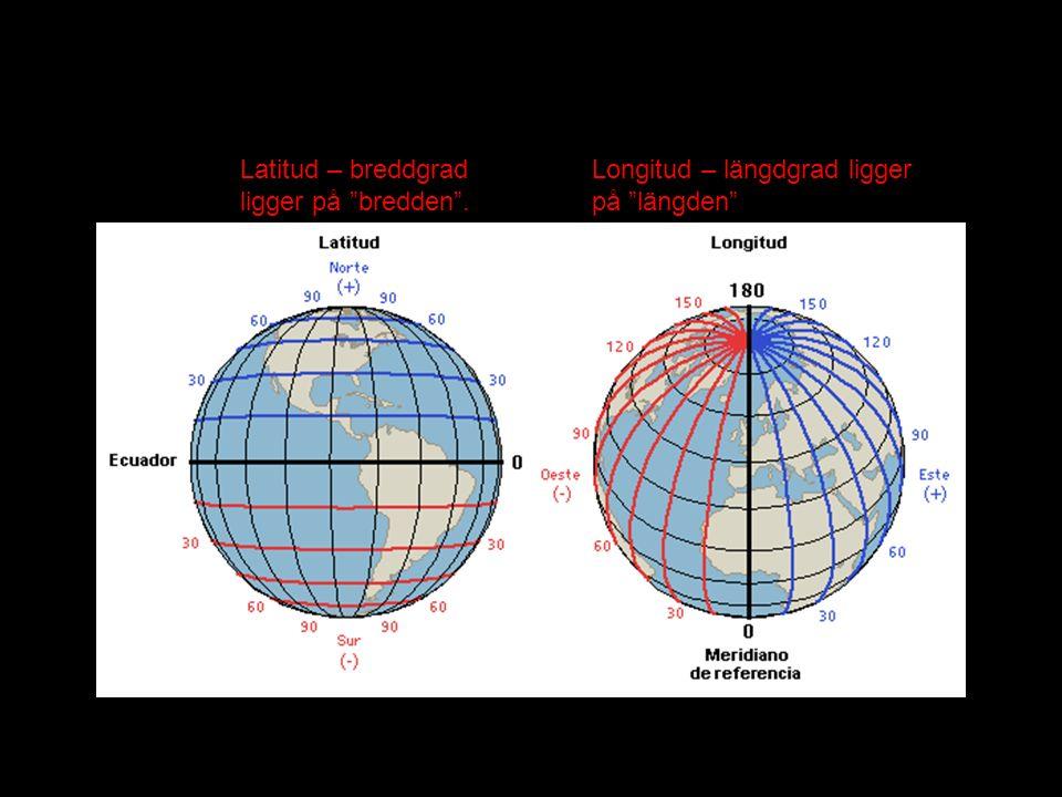 """Latitud – breddgrad ligger på """"bredden"""". Longitud – längdgrad ligger på """"längden"""""""