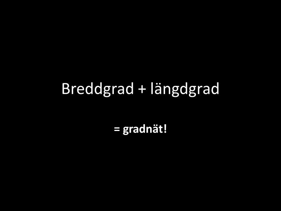 Breddgrad + längdgrad = gradnät!