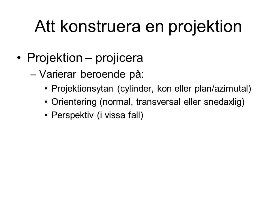 Att konstruera en projektion Projektion – projicera –Varierar beroende på: Projektionsytan (cylinder, kon eller plan/azimutal) Orientering (normal, transversal eller snedaxlig) Perspektiv (i vissa fall)