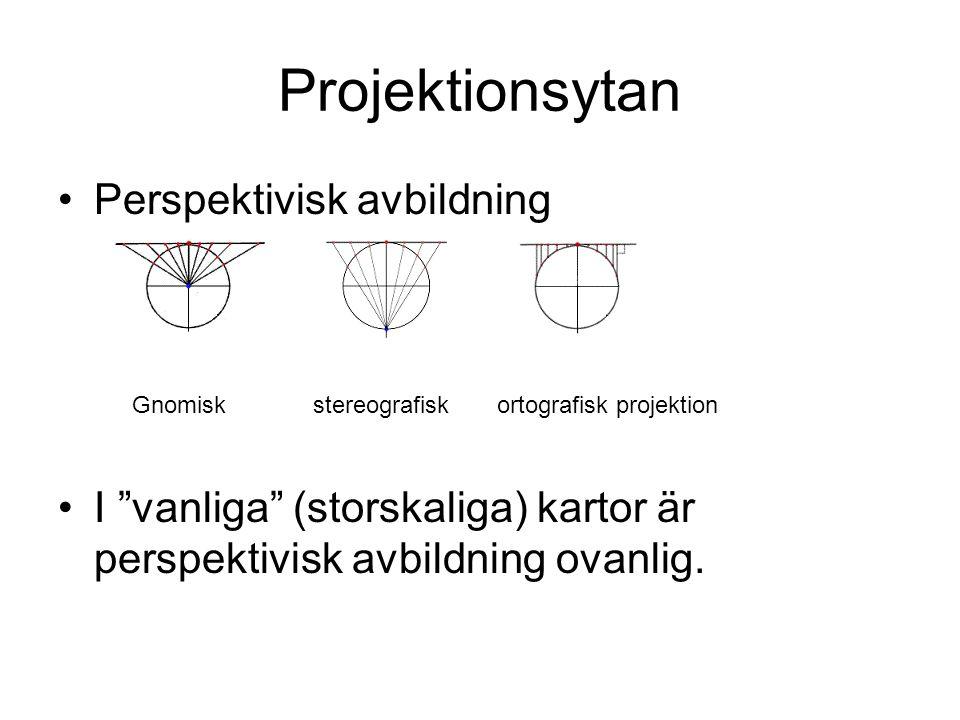 """Projektionsytan Perspektivisk avbildning I """"vanliga"""" (storskaliga) kartor är perspektivisk avbildning ovanlig. Gnomisk stereografisk ortografisk proje"""