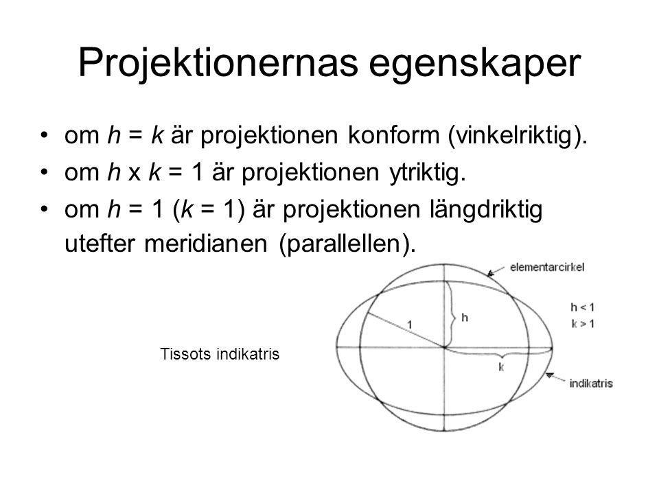 Projektionernas egenskaper om h = k är projektionen konform (vinkelriktig). om h x k = 1 är projektionen ytriktig. om h = 1 (k = 1) är projektionen lä