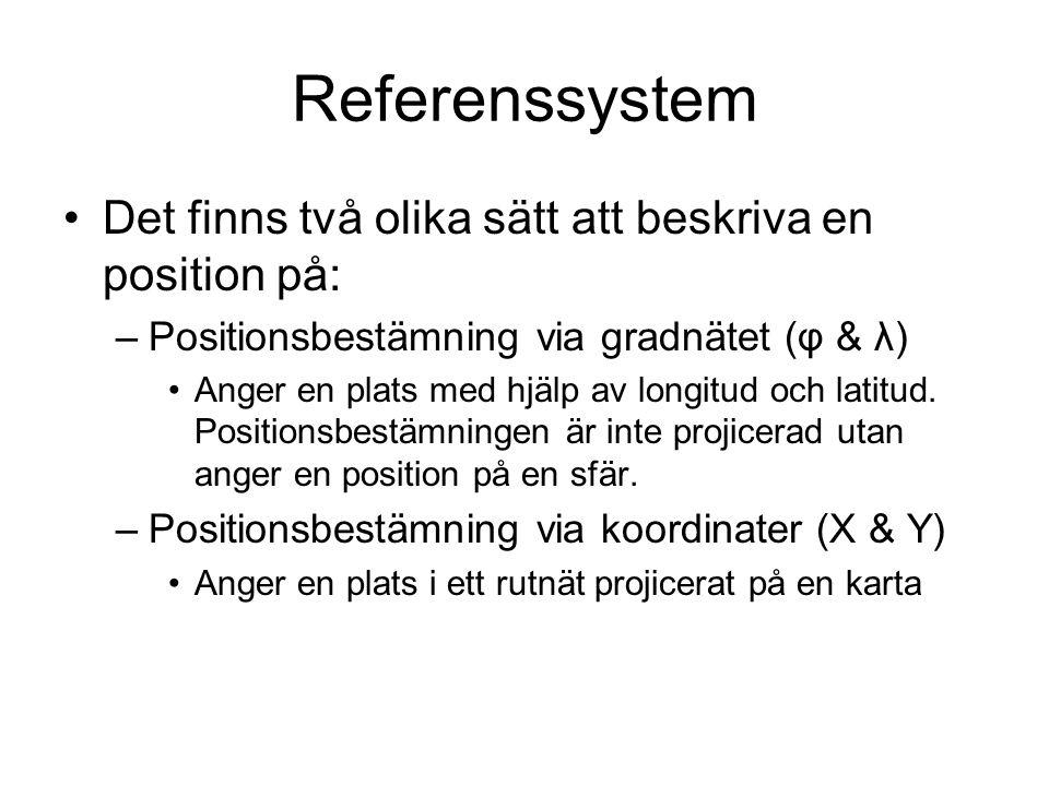Referenssystem Det finns två olika sätt att beskriva en position på: –Positionsbestämning via gradnätet (φ & λ) Anger en plats med hjälp av longitud o