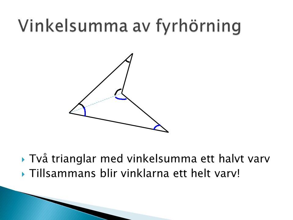  Två trianglar med vinkelsumma ett halvt varv  Tillsammans blir vinklarna ett helt varv!