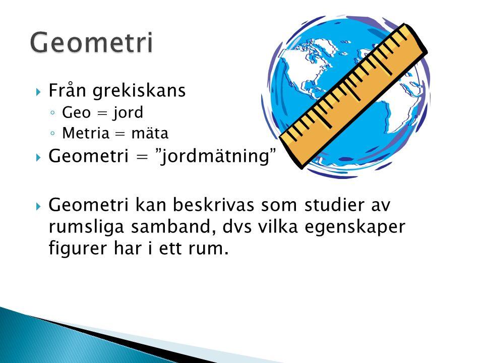  Från grekiskans ◦ Geo = jord ◦ Metria = mäta  Geometri = jordmätning  Geometri kan beskrivas som studier av rumsliga samband, dvs vilka egenskaper figurer har i ett rum.