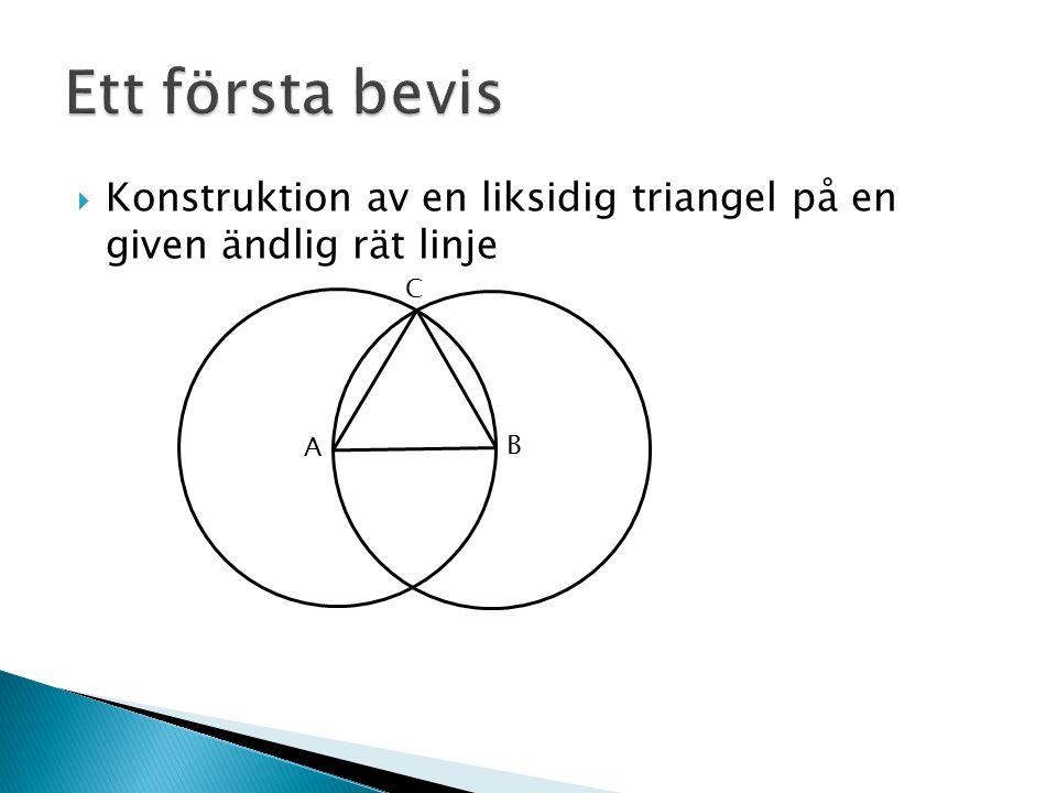  Konstruktion av en liksidig triangel på en given ändlig rät linje A A B C