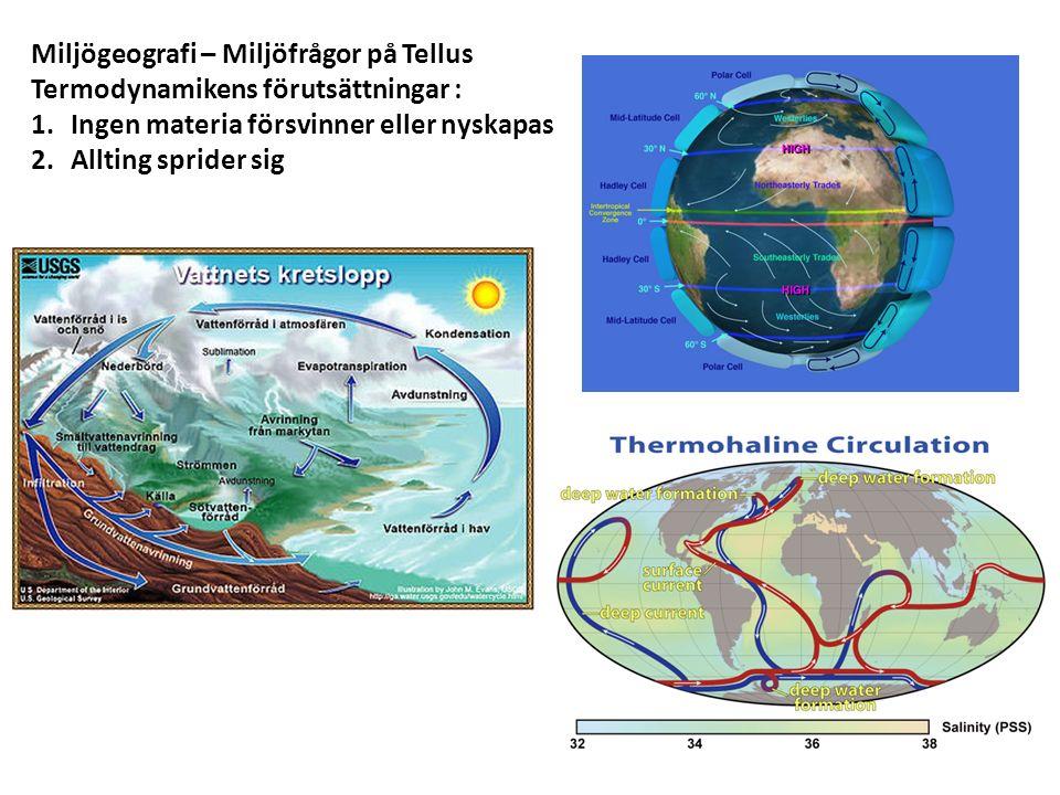 Miljögeografi – Miljöfrågor på Tellus Termodynamikens förutsättningar : 1.Ingen materia försvinner eller nyskapas 2.Allting sprider sig
