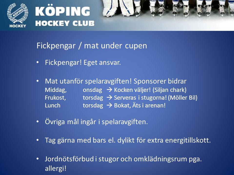 Fickpengar / mat under cupen Fickpengar. Eget ansvar.