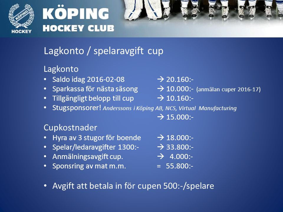 Lagkonto / spelaravgift cup Lagkonto Saldo idag 2016-02-08  20.160:- Sparkassa för nästa säsong  10.000:- (anmälan cuper 2016-17) Tillgängligt belopp till cup  10.160:- Stugsponsorer.
