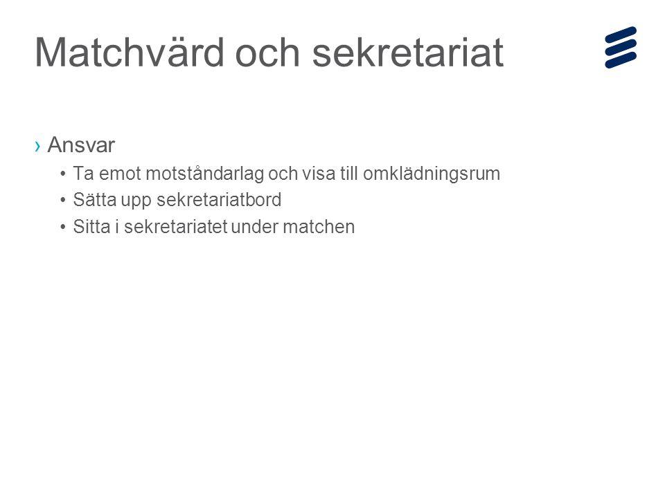 Ericsson Internal | 2014-12-19 | Page 19 ›Ansvar Ta emot motståndarlag och visa till omklädningsrum Sätta upp sekretariatbord Sitta i sekretariatet under matchen Matchvärd och sekretariat
