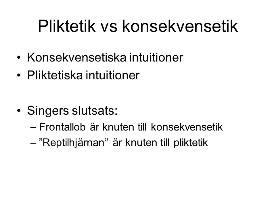 Pliktetik vs konsekvensetik Konsekvensetiska intuitioner Pliktetiska intuitioner Singers slutsats: –Frontallob är knuten till konsekvensetik – Reptilhjärnan är knuten till pliktetik