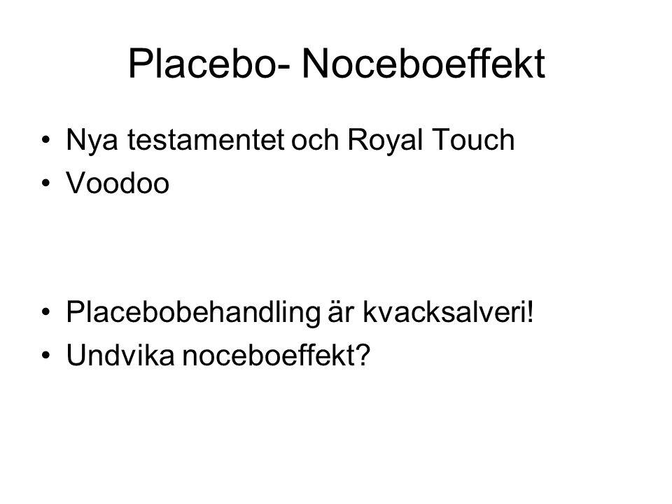 Placebo- Noceboeffekt Nya testamentet och Royal Touch Voodoo Placebobehandling är kvacksalveri.