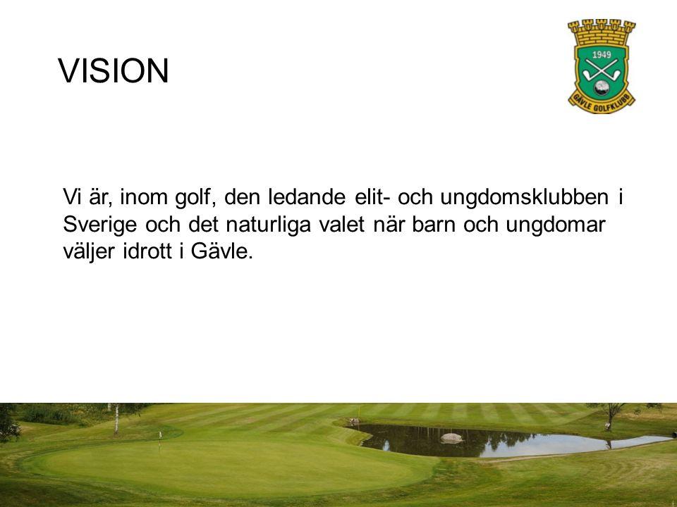 VISION Vi är, inom golf, den ledande elit- och ungdomsklubben i Sverige och det naturliga valet när barn och ungdomar väljer idrott i Gävle.