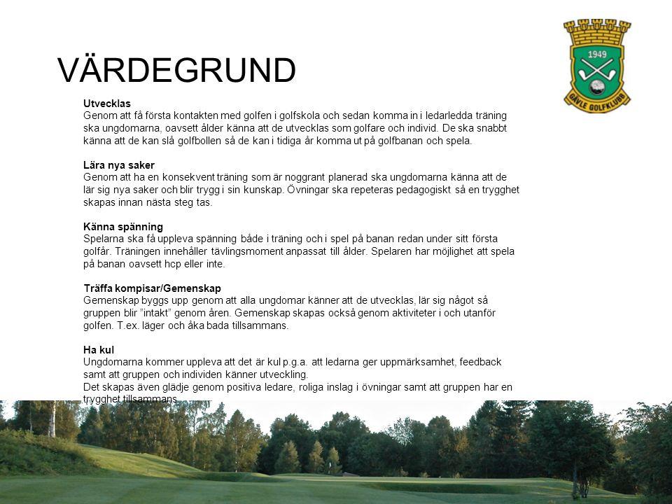 VÄRDEGRUND Utvecklas Genom att få första kontakten med golfen i golfskola och sedan komma in i ledarledda träning ska ungdomarna, oavsett ålder känna