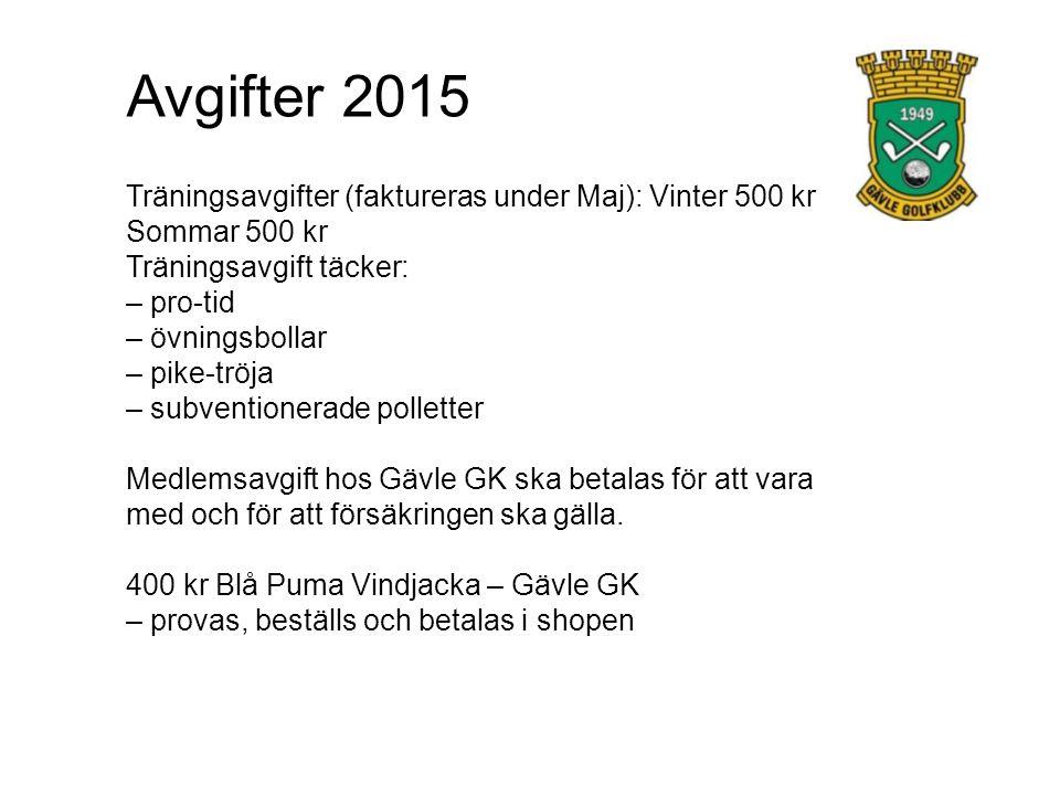 Avgifter 2015 Träningsavgifter (faktureras under Maj): Vinter 500 kr Sommar 500 kr Träningsavgift täcker: – pro-tid – övningsbollar – pike-tröja – sub