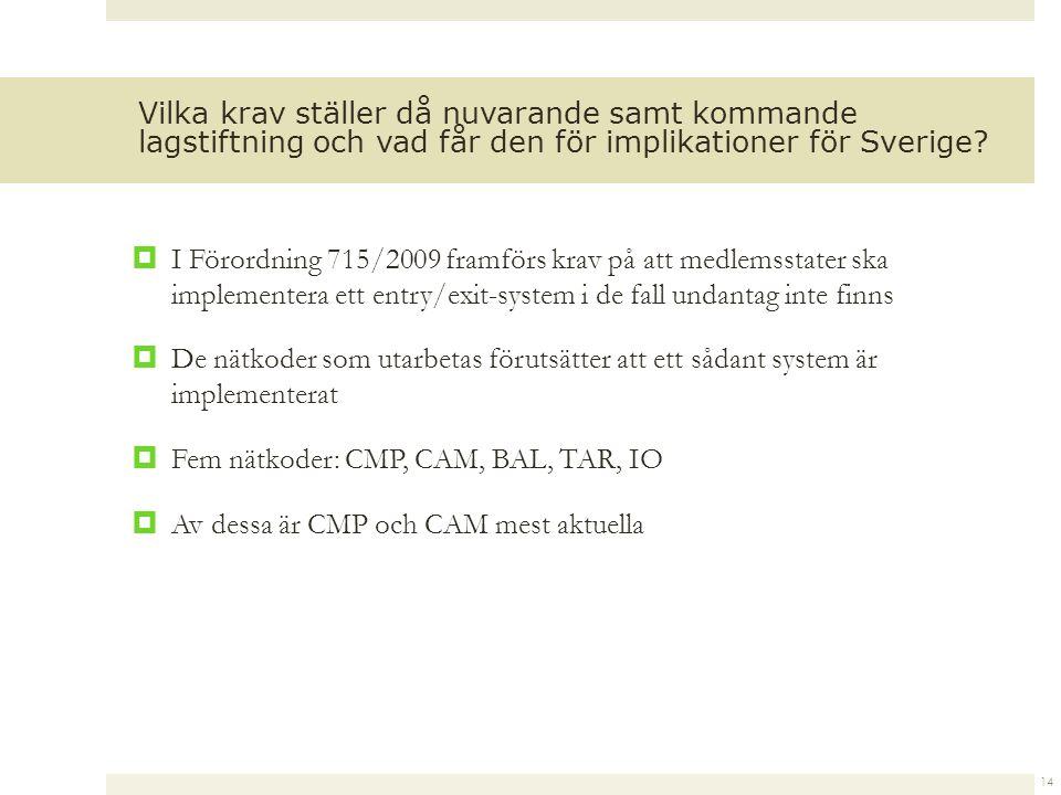  I Förordning 715/2009 framförs krav på att medlemsstater ska implementera ett entry/exit-system i de fall undantag inte finns  De nätkoder som utarbetas förutsätter att ett sådant system är implementerat  Fem nätkoder: CMP, CAM, BAL, TAR, IO  Av dessa är CMP och CAM mest aktuella 14 Vilka krav ställer då nuvarande samt kommande lagstiftning och vad får den för implikationer för Sverige?