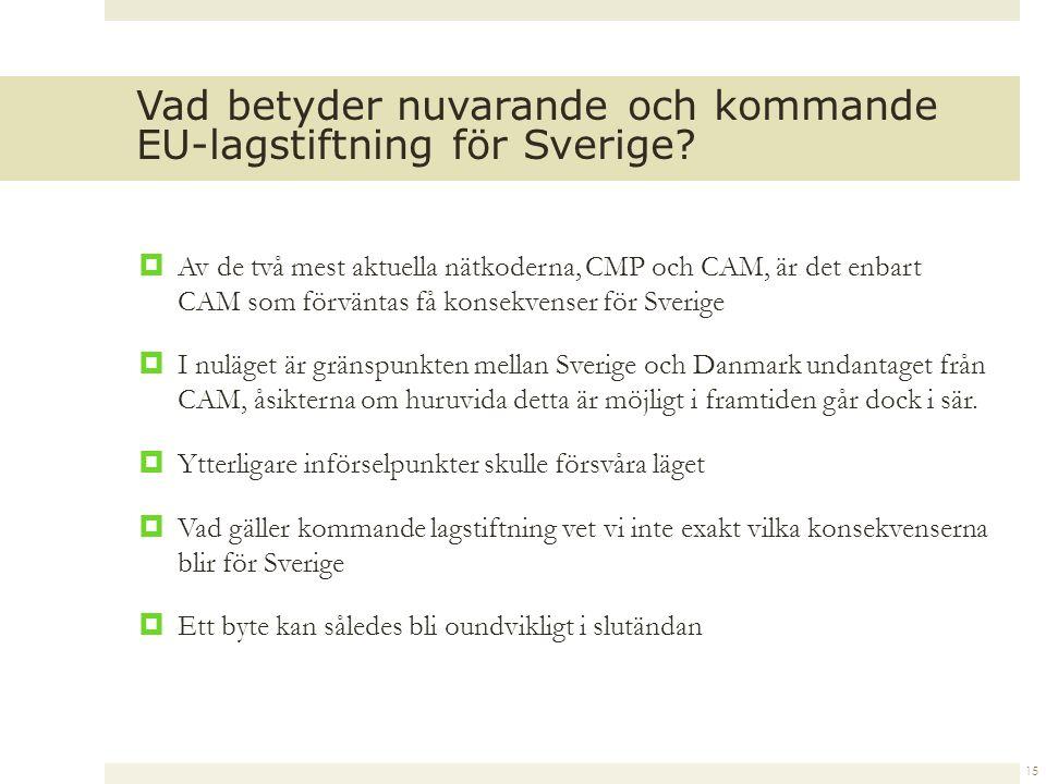  Av de två mest aktuella nätkoderna, CMP och CAM, är det enbart CAM som förväntas få konsekvenser för Sverige  I nuläget är gränspunkten mellan Sverige och Danmark undantaget från CAM, åsikterna om huruvida detta är möjligt i framtiden går dock i sär.