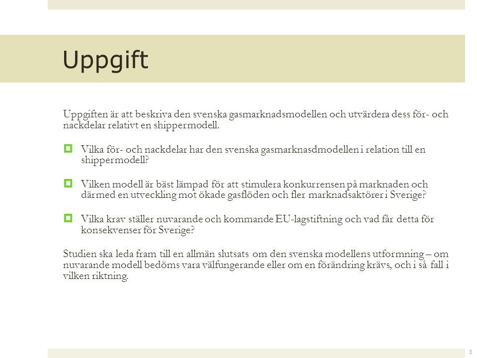Uppgiften är att beskriva den svenska gasmarknadsmodellen och utvärdera dess för- och nackdelar relativt en shippermodell.