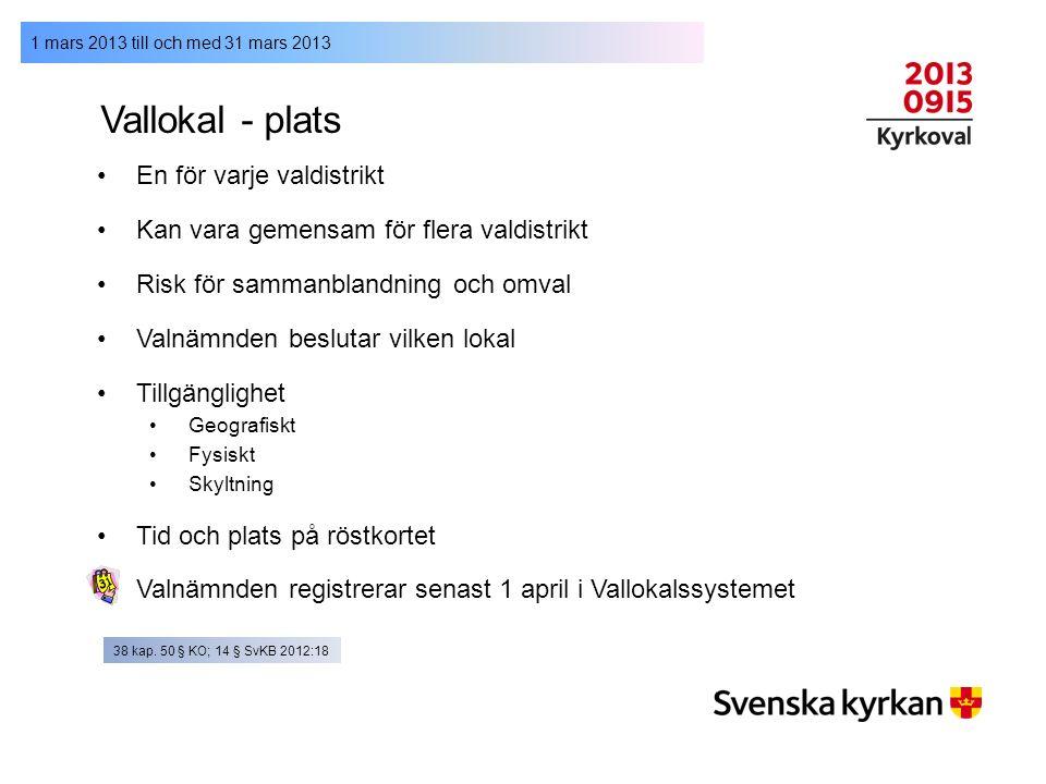 1 mars 2013 till och med 31 mars 2013 Vallokal - plats En för varje valdistrikt Kan vara gemensam för flera valdistrikt Risk för sammanblandning och o