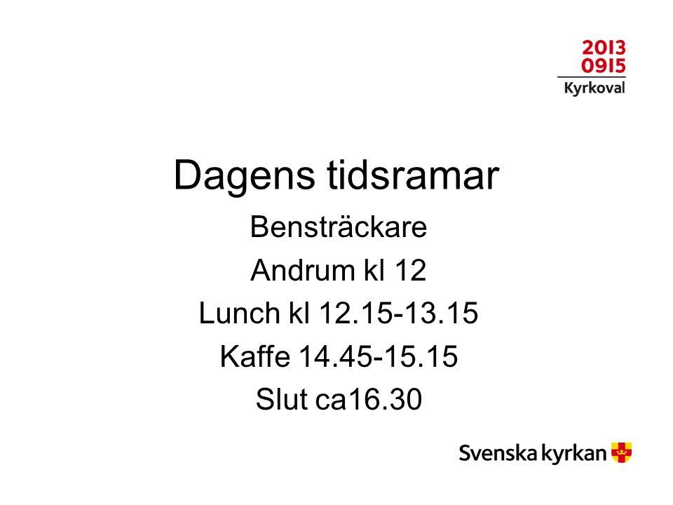 Dagens tidsramar Bensträckare Andrum kl 12 Lunch kl 12.15-13.15 Kaffe 14.45-15.15 Slut ca16.30