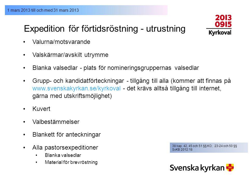 1 mars 2013 till och med 31 mars 2013 Expedition för förtidsröstning - utrustning Valurna/motsvarande Valskärmar/avskilt utrymme Blanka valsedlar - pl