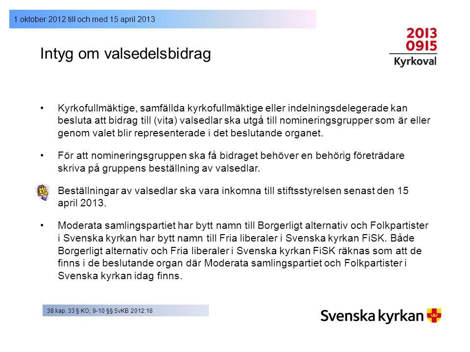 1 oktober 2012 till och med 15 april 2013 Intyg om valsedelsbidrag Kyrkofullmäktige, samfällda kyrkofullmäktige eller indelningsdelegerade kan besluta