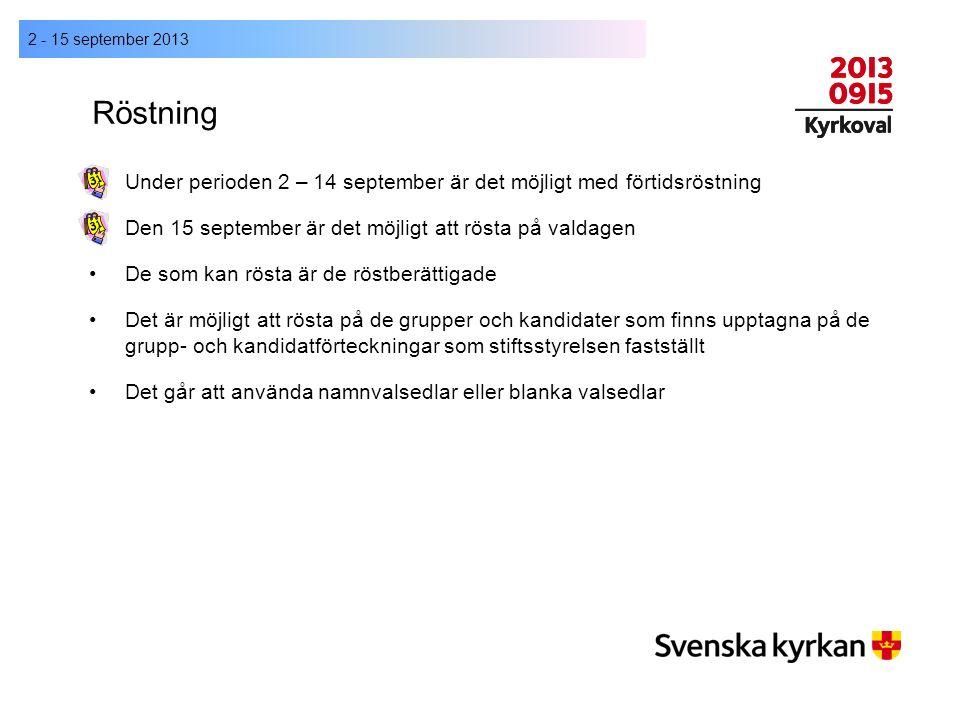 Röstning Under perioden 2 – 14 september är det möjligt med förtidsröstning Den 15 september är det möjligt att rösta på valdagen De som kan rösta är