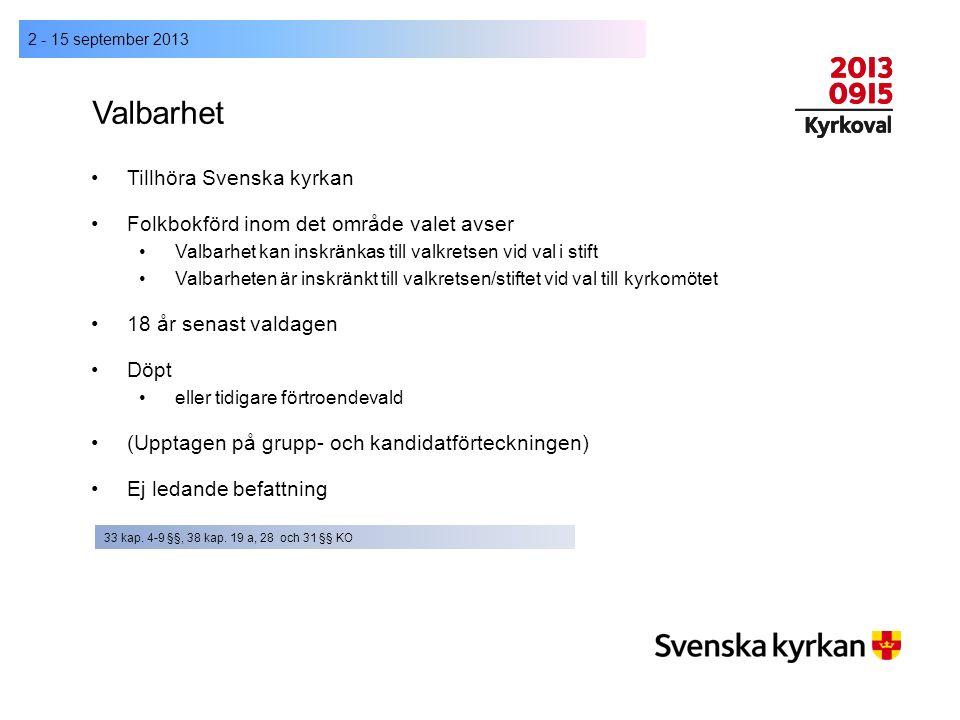Valbarhet 2 - 15 september 2013 Tillhöra Svenska kyrkan Folkbokförd inom det område valet avser Valbarhet kan inskränkas till valkretsen vid val i sti