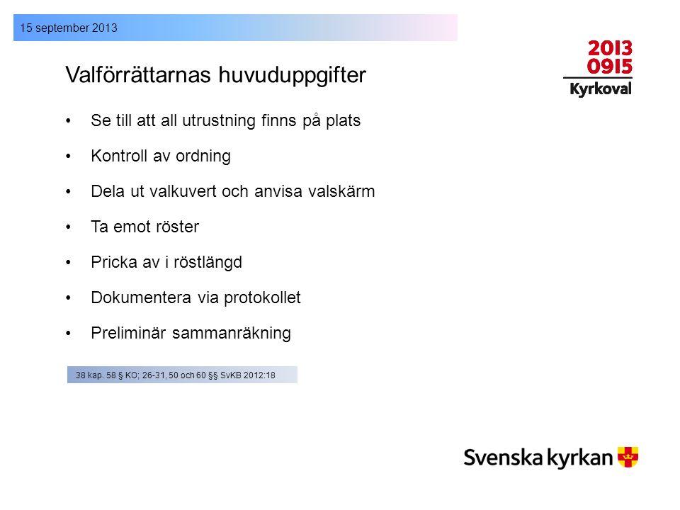 15 september 2013 Valförrättarnas huvuduppgifter Se till att all utrustning finns på plats Kontroll av ordning Dela ut valkuvert och anvisa valskärm T