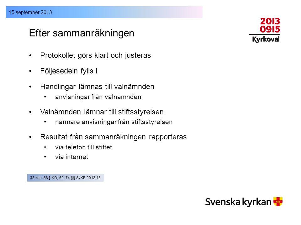 15 september 2013 Efter sammanräkningen Protokollet görs klart och justeras Följesedeln fylls i Handlingar lämnas till valnämnden anvisningar från val