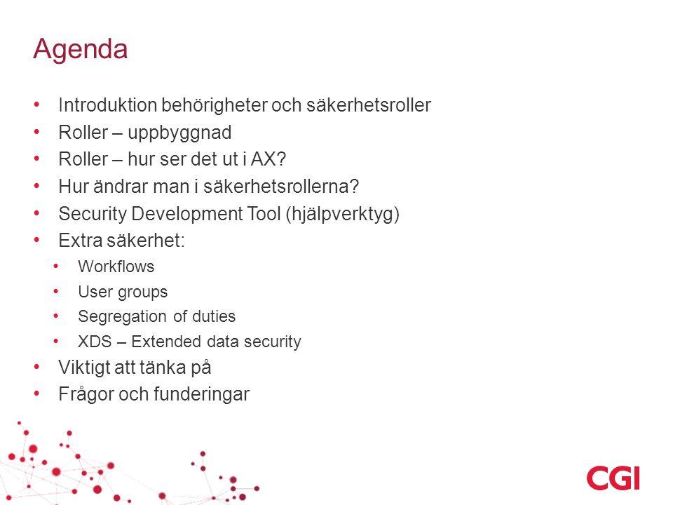 Agenda Introduktion behörigheter och säkerhetsroller Roller – uppbyggnad Roller – hur ser det ut i AX.