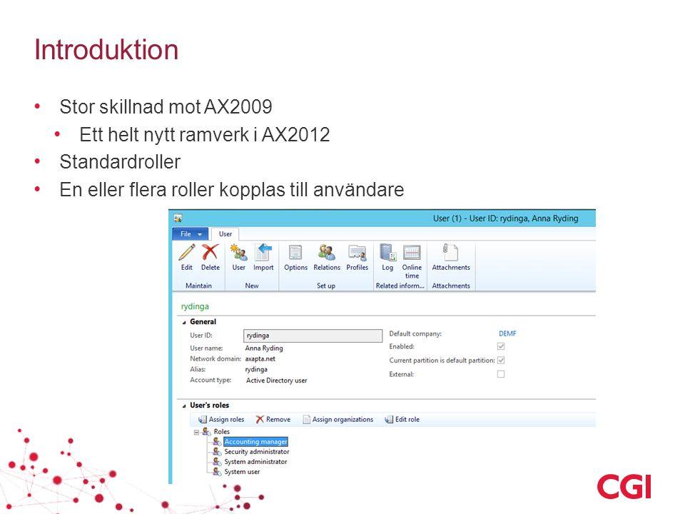 Introduktion Stor skillnad mot AX2009 Ett helt nytt ramverk i AX2012 Standardroller En eller flera roller kopplas till användare