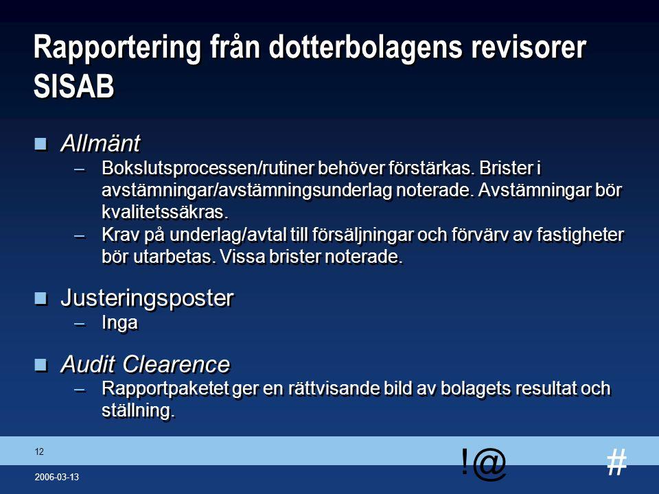 # !@ 12 2006-03-13 Rapportering från dotterbolagens revisorer SISAB n Allmänt –Bokslutsprocessen/rutiner behöver förstärkas. Brister i avstämningar/av