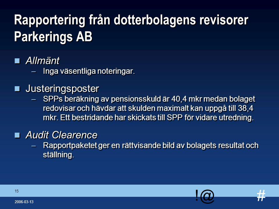# !@ 15 2006-03-13 Rapportering från dotterbolagens revisorer Parkerings AB n Allmänt –Inga väsentliga noteringar. n Justeringsposter –SPPs beräkning