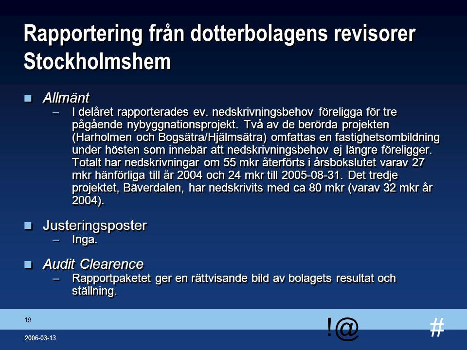 # !@ 19 2006-03-13 Rapportering från dotterbolagens revisorer Stockholmshem n Allmänt –I delåret rapporterades ev. nedskrivningsbehov föreligga för tr