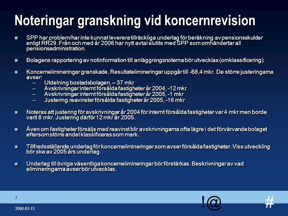 # !@ 14 2006-03-13 Rapportering från dotterbolagens revisorer Globe Arena n Allmänt –Diskussion om värdering av fastigheter.
