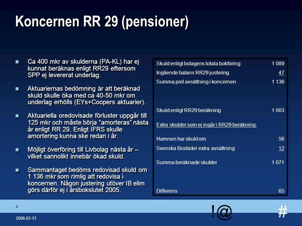 # !@ 4 2006-03-13 Koncernen RR 29 (pensioner) n Ca 400 mkr av skulderna (PA-KL) har ej kunnat beräknas enligt RR29 eftersom SPP ej levererat underlag.