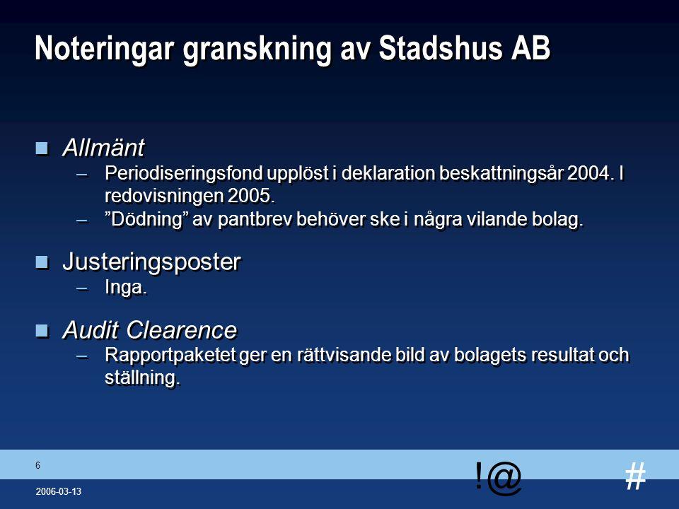 # !@ 7 2006-03-13 Rapportering från dotterbolagens revisorer Svenska Bostäder n Allmänt –Vällingby – intern avkastningsvärdering visar på ett totalt värde i projektet om 2 900 Mkr.