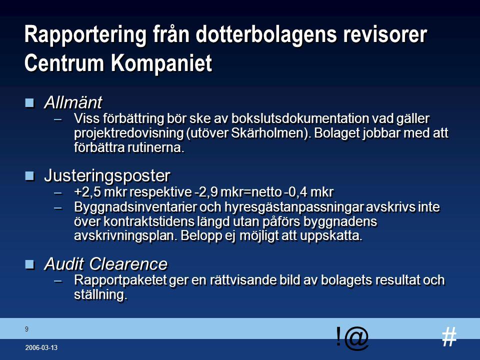 # !@ 9 2006-03-13 Rapportering från dotterbolagens revisorer Centrum Kompaniet n Allmänt –Viss förbättring bör ske av bokslutsdokumentation vad gäller