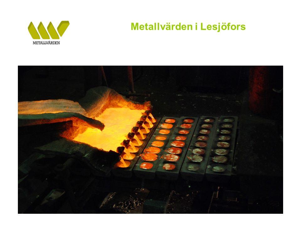 Metallvärden i Lesjöfors Metallvärden i Lesjöfors har på kort tid byggts upp till att vara En effektiv anläggning för återvinning och omsmältning av Al-skrot Produkten DABS har med framgång introducerats hos stora svenska stålverk Produktionsutveckling Produktionsstart i Q3 2009 Gradvis ökad produktion – årstakt under Q2 2010 ca 1.300 ton Goda förutsättningar att under andra halvan av 2010 uppnå en produktionsvolym på ca 2.000 ton per år Anläggningen i Lesjöfors har en koncession på 3.000 årston Goda förutsättningar för god lönsamhet Framtiden På sikt tillföra ytterligare flera metallsmältande återvinningsverksamheter BILDER FRÅN LESJÖFORS