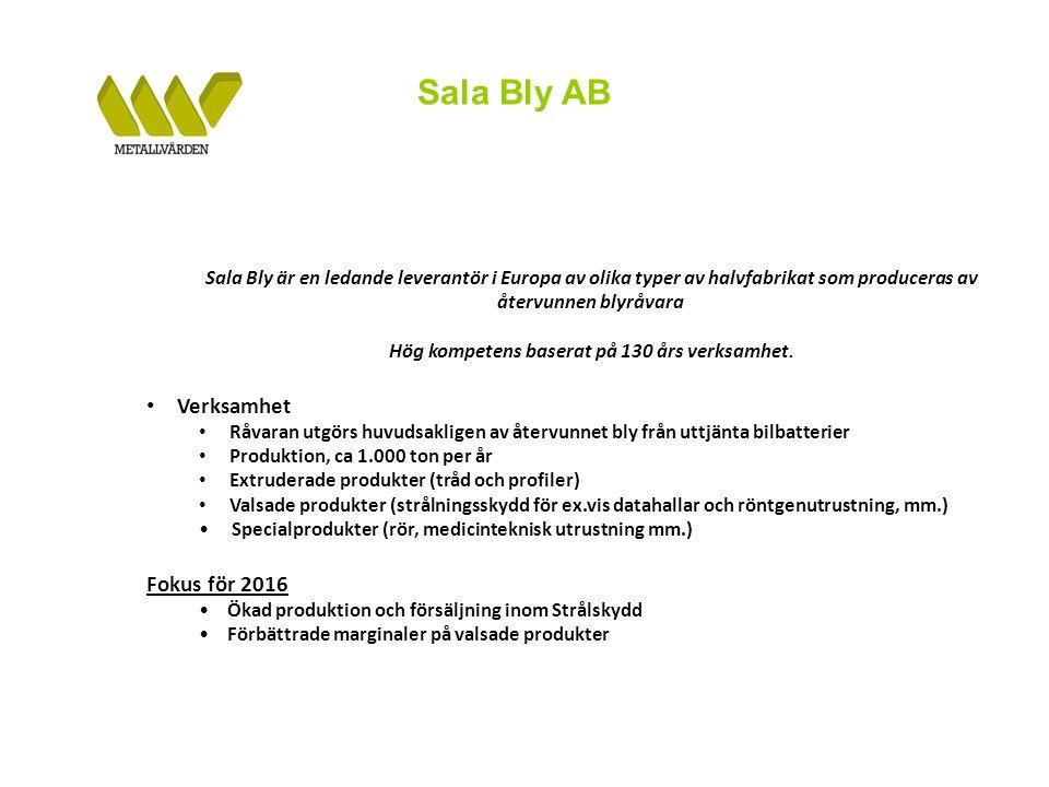 Sala Bly AB Sala Bly är en ledande leverantör i Europa av olika typer av halvfabrikat som produceras av återvunnen blyråvara Hög kompetens baserat på 130 års verksamhet.