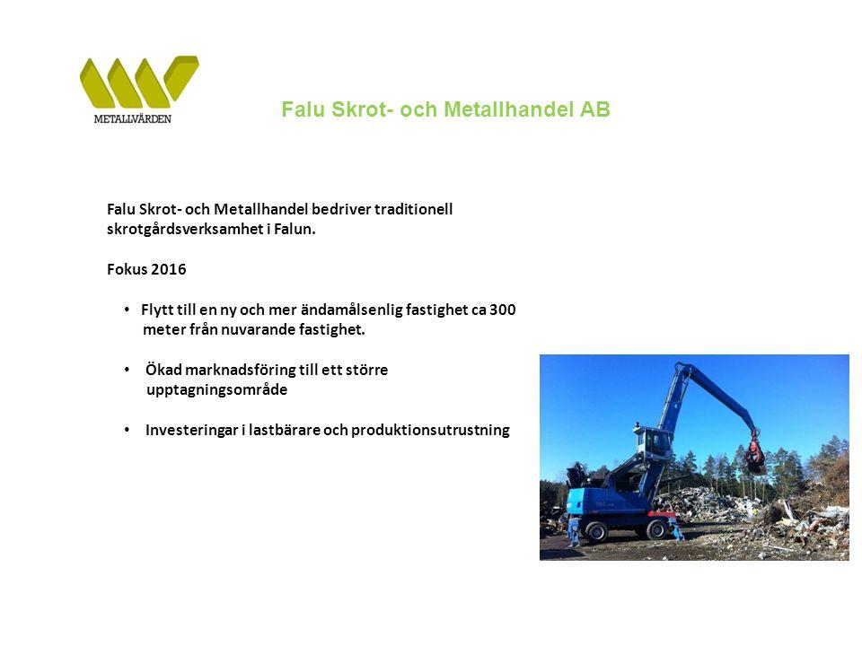 Falu Skrot- och Metallhandel AB Falu Skrot- och Metallhandel bedriver traditionell skrotgårdsverksamhet i Falun.