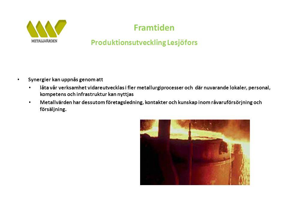Framtiden Produktionsutveckling Lesjöfors Synergier kan uppnås genom att låta vår verksamhet vidareutvecklas i fler metallurgiprocesser och där nuvarande lokaler, personal, kompetens och infrastruktur kan nyttjas Metallvärden har dessutom företagsledning, kontakter och kunskap inom råvaruförsörjning och försäljning.