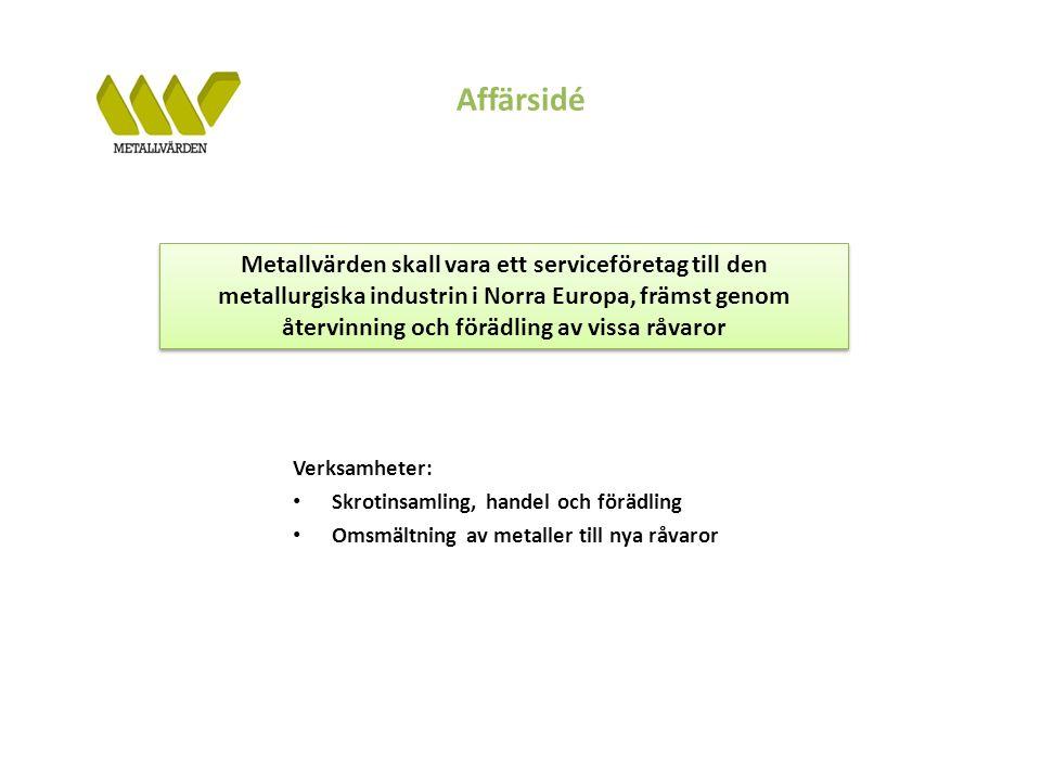 Affärsidé Verksamheter: Skrotinsamling, handel och förädling Omsmältning av metaller till nya råvaror Metallvärden skall vara ett serviceföretag till den metallurgiska industrin i Norra Europa, främst genom återvinning och förädling av vissa råvaror